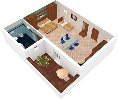 Monolocale Vela Latina Vista 3D | Residence Veliero