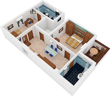 Trilocale Veliero Vista 3D | Residence Veliero